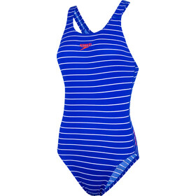 speedo Endurance+ Printed Medalist Swimsuit Damen chroma blue/white